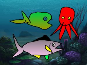 Scratchで作る水族館。魚とタコ