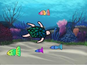 カメや魚が泳ぐ海中をプログラミング