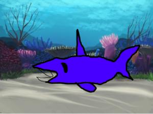 プログラミングでサメを泳がせました。
