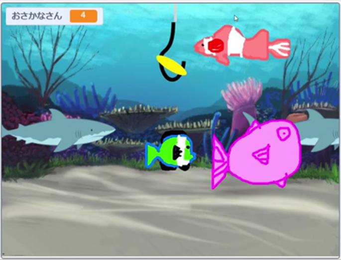 Scratchでつくった魚釣りゲーム
